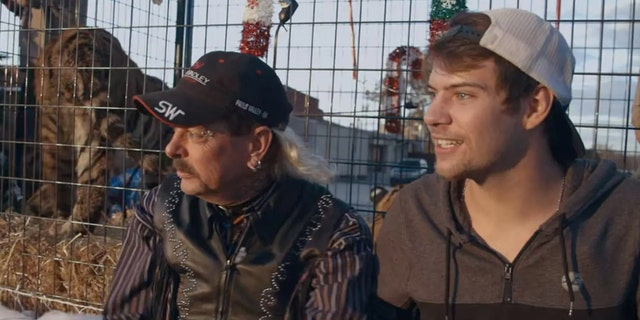 Joe Exotic (left) and Dillon Passage in the series 'Tiger King.'