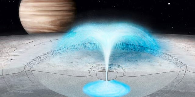 This artist's conception of Jupiter's icy moon Europa shows a hypothesized cryovolcanic eruption, in which briny water from within the icy shell blasts into space. A new model of this process on Europa may also explain plumes on other icy bodies. (Credit: Justice Blaine Wainwright)