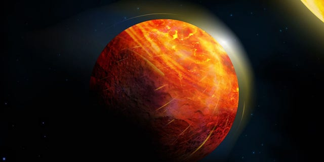 Artist's impression of the lava planet K2-141b. At the center of the large illuminated region there is an ocean of molten rock overlain by an atmosphere of rock vapour. Supersonic winds blow towards the frigid and airless nightside, condensing into rock rain and snow, which sluggishly flow back to the hottest region of the magma ocean.