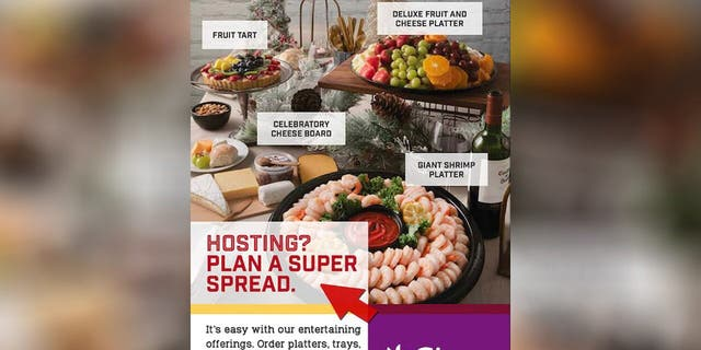 """Hosting? Plan a super spread,"" the tone-deaf flyer read, featuring platters of shrimp cocktail, cheese and a fruit tart."