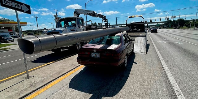 Hatley told troopers that he had found the pole on the ground by the side of the highway and had planned to sell the metal for scrap, according to the report. (Florida Highway Patrol via AP)