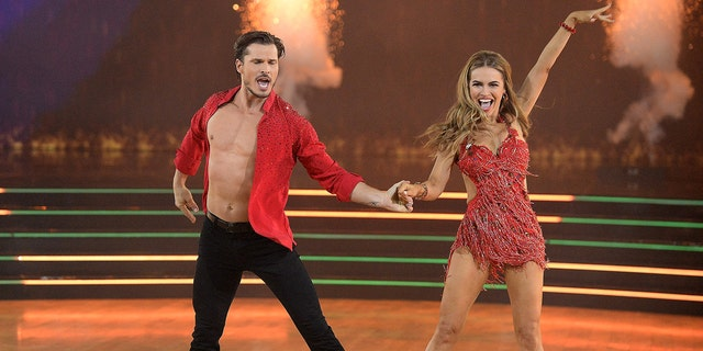 Gleb Savchenko's 'DWTS' partner and 'Selling Sunset' star, Chrishell Stause, shut down fans' speculation about her connection to the professional dancer. (Eric McCandless via Getty Images)