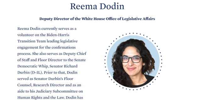The interim website of President-elect Joe Biden includes a page for Reema Dodin.  Snapshot