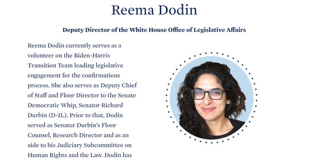 President-elect Joe Biden's transition website includes a page for Reema Dodin. Screenshot