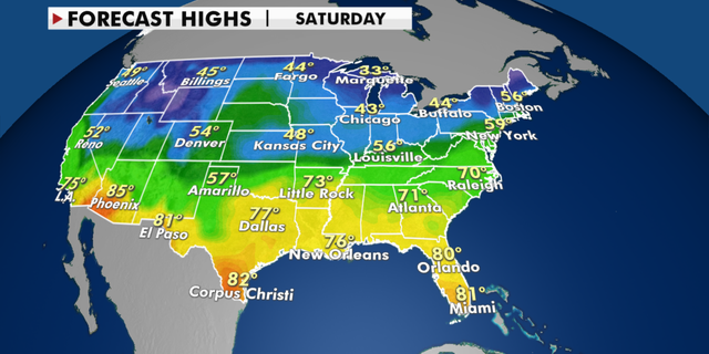Quiet weekend with rain, mild weather for much of country - thumbnail USA 5DayHighMorph2.pngnov20