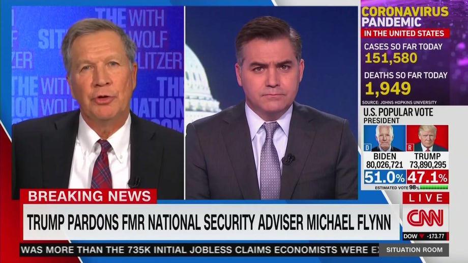 Kasich shrugs off CNN uproar about Michael Flynn pardon during clash with Jim Acosta: 'Let's move on'