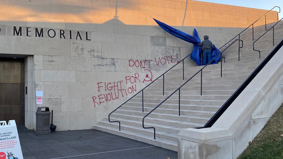Election Day anti-voting message spray-painted on Kansas City's World War I Museum