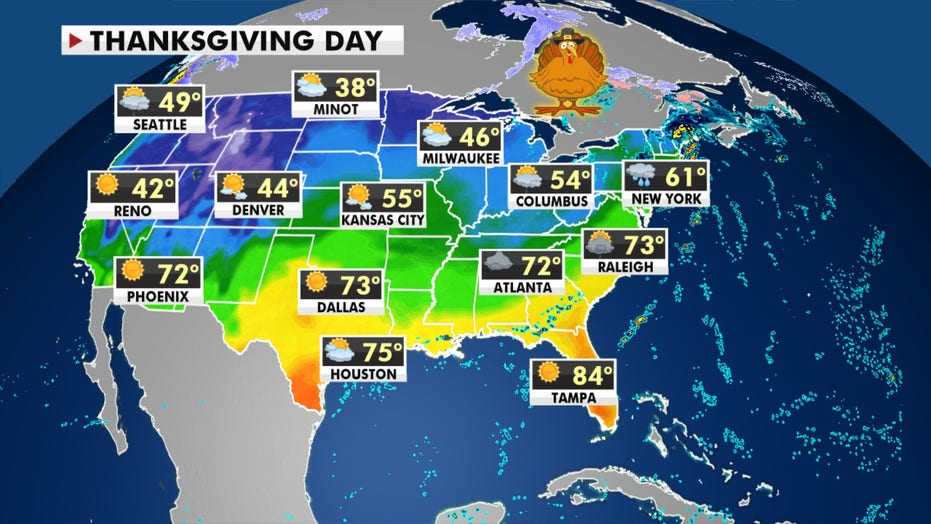 Milder-than-average Thanksgiving week temperatures for much of US