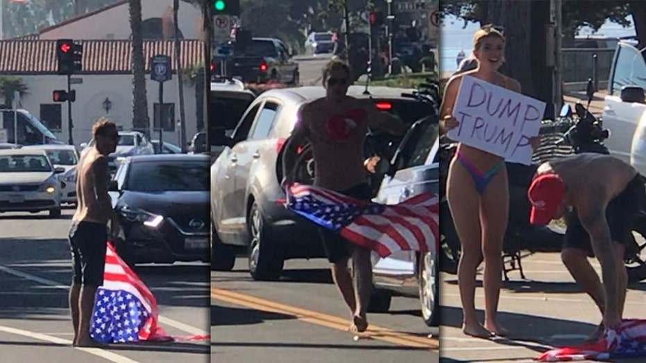 California police seek shirtless man, bikini-clad woman after American flag, hat snatched from Trump supporter