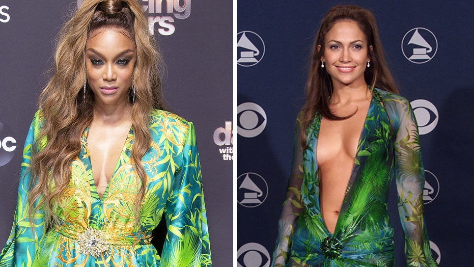 'DWTS' host Tyra Banks recreates Jennifer Lopez's iconic plunging Versace gown look from 2000 Grammys