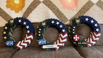 Texas Airman makes wreaths from old military uniforms for veterans, their families