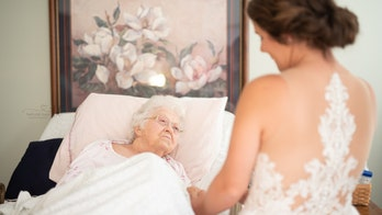Bride stages first look with grandmother in hospice before wedding day