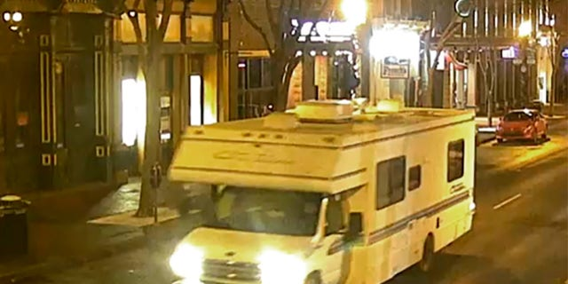 Surveillance video shows the RV involved in the explosion.