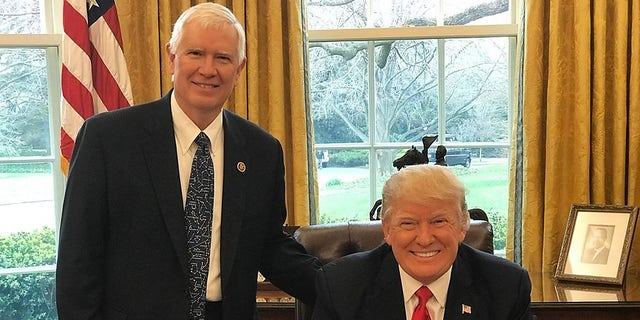 Rep. Mo Brooks and former President Trump.