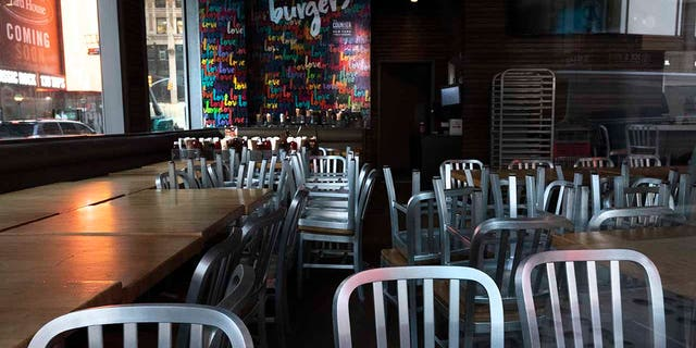 The Counter restaurant is closed for indoor dining, Tuesday, Dec. 15, 2020, in New York. A ban on indoor dining at New York City restaurants was enacted Monday by officials trying to slow the resurgence of the coronavirus. [AP Photo/Mark Lennihan)
