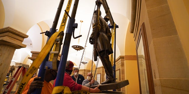 Gov. Ralph Northam announced that Virginia's statue of Confederate general Robert E. Lee was removed from the United States Capitol overnight Monday. A representative from the governor's office was present for the removal along with Sen. Tim Kaine and Rep. Jennifer Wexton.