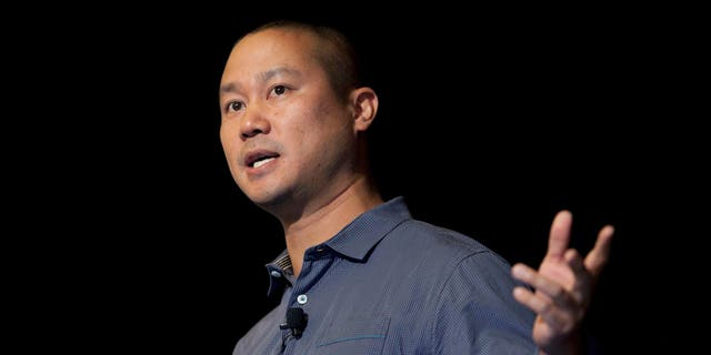 In this Sept. 30, 2013, file photo, Tony Hsieh speaks during a Grand Rapids Economic Club luncheon in Grand Rapids, Mich. (Cory Morse/The Grand Rapids Press via AP)