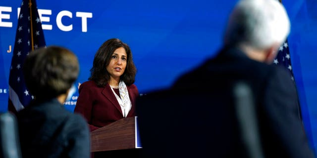 Neera Tanden, who President-elect Joe Biden nominated to serve as Director of the Office of Management and Budget, speaks at The Queen theater, Tuesday, Dec. 1, 2020, in Wilmington, Del.