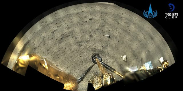 This image taken by panoramic camera aboard the lander-ascender combination of Chang'e-5 spacecraft provided by China National Space Administration shows a moon surface after it landed on the moon on Wednesday, Dec. 2, 2020. Chinese government say the spacecraft landed on the moon on Tuesday to bring back lunar rocks to Earth for the first time since the 1970s. (China National Space Administration/Xinhua via AP)