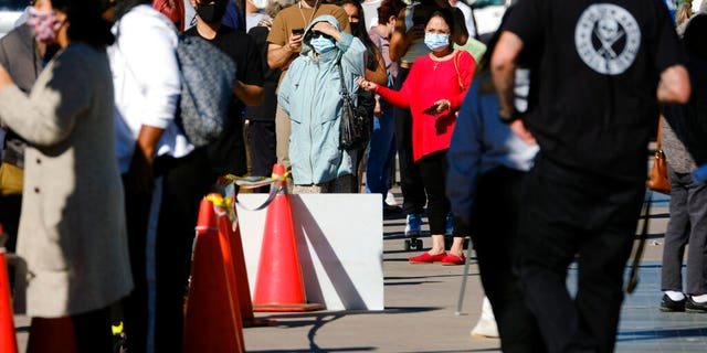 People wait in line to be tested for COVID-19 at a testing site in the North Hollywood section of Los Angeles on Saturday, Dec. 5, 2020.