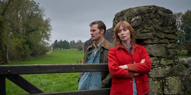 Jamie Dornan (L) and Emily Blunt (R) in a scene from 'Wild Mountain Thyme.'