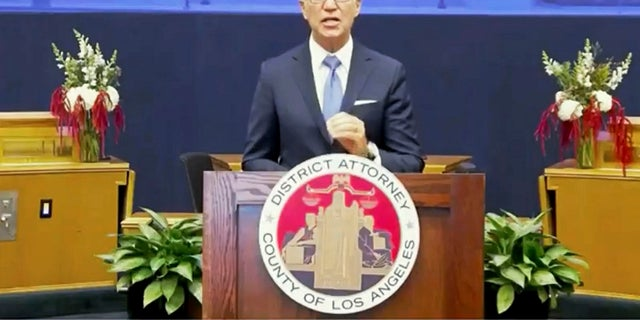 In this photo from the County of Los Angeles streaming video, incoming Los Angeles County District Attorney George Gascon speaks after he was sworn in in downtown Los Angeles on Monday. (County of Los Angeles via AP)