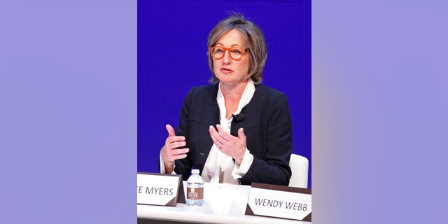In this May 14, 2018 file photo, Dee Dee Myers, executive vice president at Warner Bros., speaks during a women's forum at the Wynn hotel and casino in Las Vegas. Myers, a former press secretary to President Bill Clinton, became a senior adviser to California Gov. Gavin Newsom on Friday, Dec. 11, 2020, and director of the Governor's Office of Business and Economic Development. (AP Photo/John Locher)