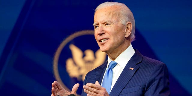 President-elect Joe Biden announces his choice for several positions in his administration during an event at The Queen Theater in Wilmington, Del., Friday, Dec. 11, 2020. (Associated Press)