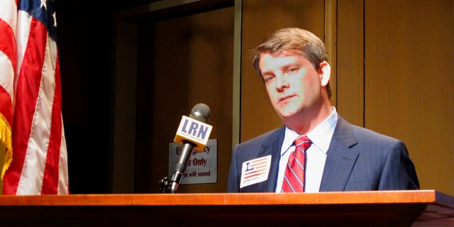 Luke Letlow, chief of staff to exiting U.S. Rep. Ralph Abraham, speaks after signing up to run for Louisiana's 5th Congressional District in Baton Rouge, La. (AP Photo/Melinda Deslatte, File)