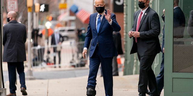 President-elect Joe Biden departs after holding a news conference to introduce his nominees and appointees to economic policy posts at The Queen theater, Tuesday, Dec. 1, 2020, in Wilmington, Del. (AP Photo/Andrew Harnik)
