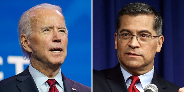 California Attorney General Xavier Becerra, right, is Joe Biden's choice to lead the Health and Human Services Department.