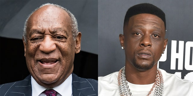Bill Cosby (剩下) has sent a message of thanks to rapper Boosie Badazz (对) for his 'support.'