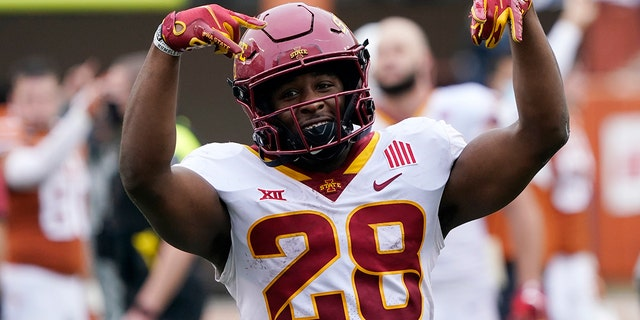 Iowa State running back Breece Hall celebrates the team's win over Texas in an NCAA college football game, Friday, Nov. 27, 2020, in Austin, Texas. (AP Photo/Eric Gay)
