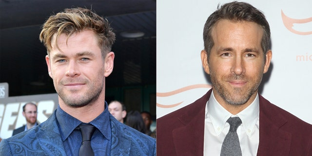 Chris Hemsworth (left) and Ryan Reynolds (right) have playfully swapped trash-talking videos.