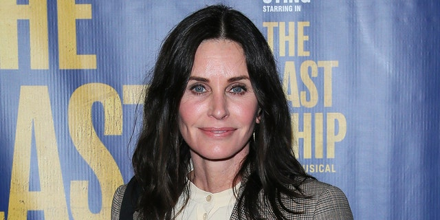 Courteney Cox Courteney Cox shared a behind-the-scenes video revealing how she recreated the iconic 'Friends' scene in which she wore a turkey on her head. (Photo by Jean Baptiste Lacroix/Getty Images)