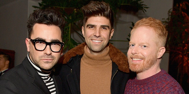 Daniel Levy (Left), Justin Mikita and Jesse Tyler Ferguson attend the 2018 GQ Men of the Year Party in Beverly Hills, California. (Photo by Matt Winkelmeyer/Getty Images for GQ)