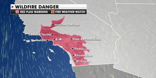 Wildfire danger graphic.