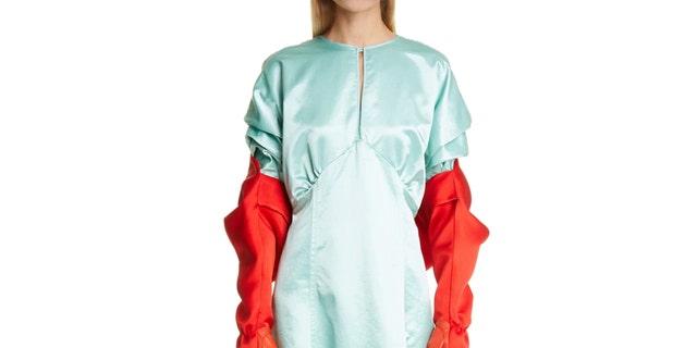 """ The """"Gloved Double Satin Bolero"""" dress made by designer Meryll Rogge. (Nordstrom). """