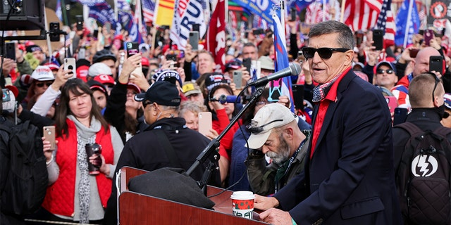Former U.S. national security adviser Michael Flynn speaks as supporters of U.S. President Donald Trump listen during a rally to protest the results of the election in front of Supreme Court building, in Washington, U.S., Dec. 12. (Reuters)