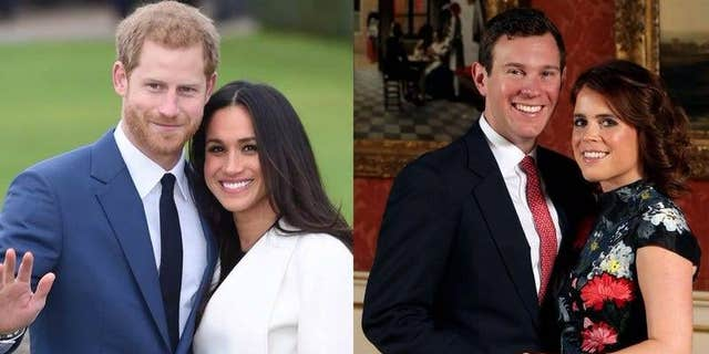 Markle and Prince Harry (大号) and Princess Eugenie and Jack Brooksbank ([R)