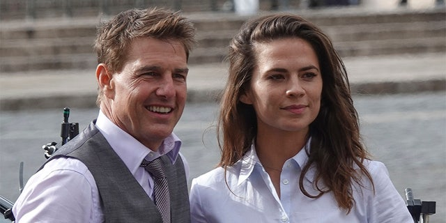Tom Cruise and Hayley Atwell on the set of 'Mission: Impossible 7' on October 11, 2020, in Rome, Italy.