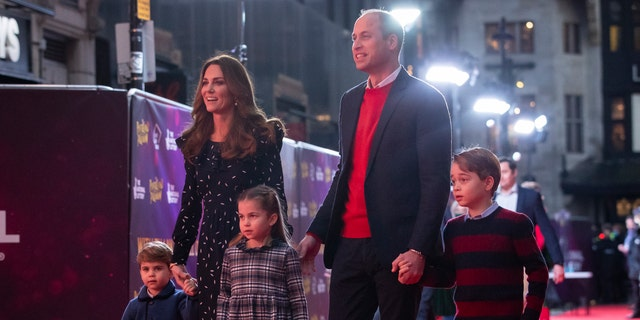 Prince William, Duke of Cambridge and Catherine, Duchess of Cambridge with their children, Prince Louis, Princess Charlotte and Prince George. The family attended a special pantomime performance at London's Palladium Theatre. (Photo by Aaron Chown - WPA Pool/Getty Images)