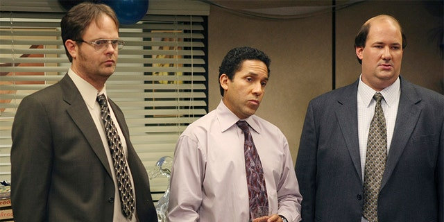 Rainn Wilson as Dwight Schrute, Oscar Nunez as Oscar Martinez and Brian Baumgartner as Kevin Malone in 'The Office.'