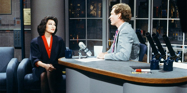 Connie Chung during an interview with host David Letterman, circa 1988.