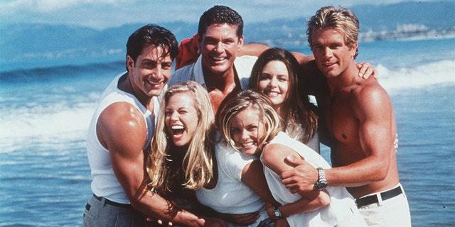 The cast of 'Baywatch' during the 1998-1999 Season. Clockwise from top left: Michael Bergin, David Hasselhoff, Mitzi Kapture, David Chokachi, Kelly Packard and Brooke Burns.