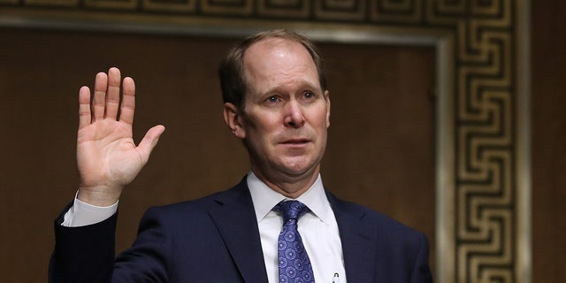 U.S. Attorney for the Northern District of Indiana Thomas Kirsch II is sworn in during his confirmation hearing before the Senate Judiciary Committee in the Dirksen Senate Office Building on Capitol Hill Nov. 18, 2020, in Washington, D.C. (Photo by Chip Somodevilla/Getty Images)