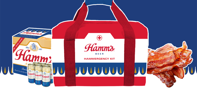 """The Hammergency Kits, as they're called, include a six-pack of Hamm's beer (redeemable via a pre-paid gift card) and 5 pounds of """"restaurant quality"""" bacon, all contained within a Hamm's-branded cooler."""