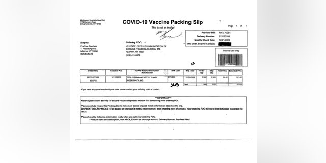 A copy of a packing slip given to Fox News clarifies that the vaccines were shipped directly to ParCare in Monroe, N.Y., from a McKesson pharmaceutical-supply warehouse in Shepherdsville, Ky., volgens die koerant, driving forth the company's claim that they were not illegally obtained as the state has speculated. (ParCare spokesperson)