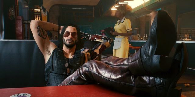 Keanu Reeves as Johnny Silverhand in the brand new video game 'Cyberpunk 2077.'
