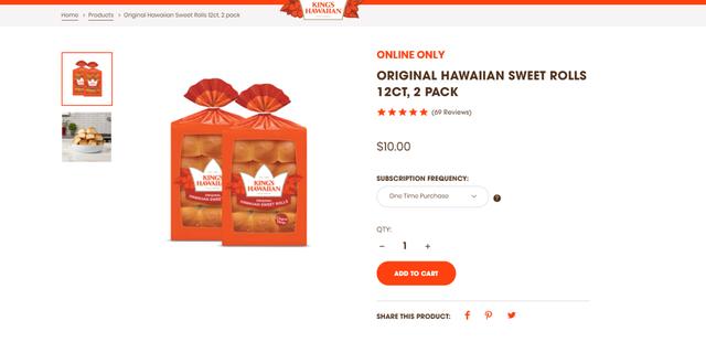 A 2-pack of 12 King's Hawaiian sweet rolls cost $10, according to a listing on its website. (King's Hawaiian)